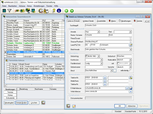 Screenshot ezAdressen 2.3.1